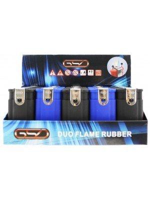 Wholesale GSD Double Flame Rubberized Refillable Lighters - Blue/Black