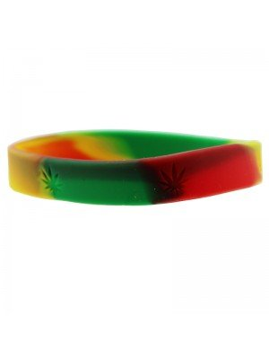 Gummy Wristbands Cannabis Leaf design - Rasta Colours