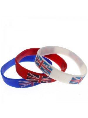 Gummy Wristbands Union Jack Print Assorted Colours