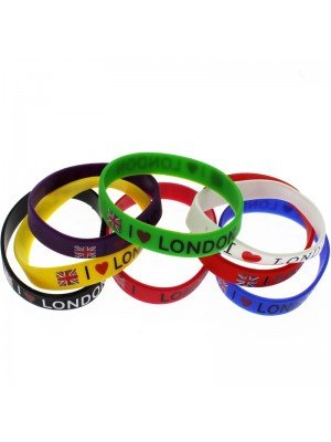 Gummy Wristbands''I Love London'' Assorted Colours
