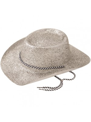 Cowboy Glitter Party Hat With Cord - Silver