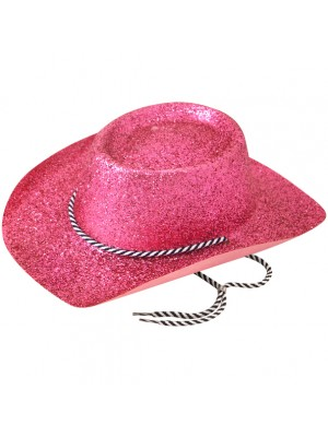 Cowboy Glitter Party Hat - Pink