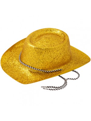 Cowboy Glitter Party Hat With Cord - Gold