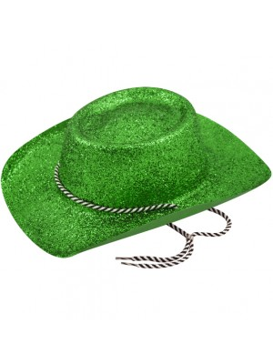 Cowboy Glitter Party Hat - Green