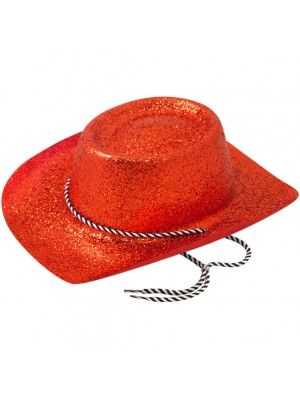 Cowboy Glitter Party Hat - Red