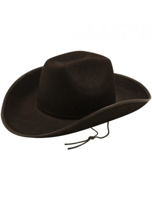 Cowboy Hat With Cord - Black (Adult Size)