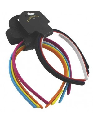 Card Of 4 Narrow Plastic Fabric Alicebands- Assorted Colours