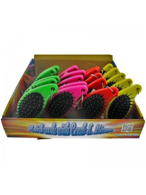 Hair Brush with Mirror-Assorted Colours