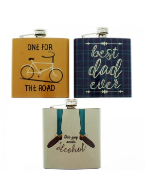 Handy Stainless Steel 6oz Hip Flask - Assorted Prints