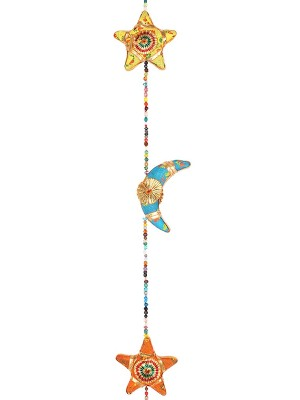 Wholesale Wooden Hanging Multi-Coloured Moon & Stars With Bell