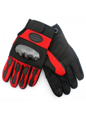 Hard Knuckle Touch Screen Gloves - Black and Red