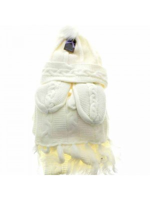 Wholesale Ladies Wooly Thick Knitted Hat Scarf and Mitten Set - Cream