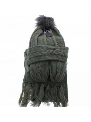 Wholesale Ladies Wooly Thick Knitted Hat Scarf and Mitten Set - Grey (One Size)