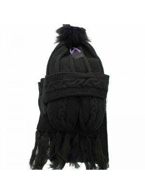 Wholesale Ladies Wooly Thick Knitted Hat Scarf and Mitten Set - Black (One Size)
