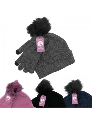 Ladies' Two-Tone Hat & Gloves Set (Touch Screen) - Assorted Colours