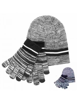 Wholesale Mens Hat and Touchscreen Glove Set - Two Colour