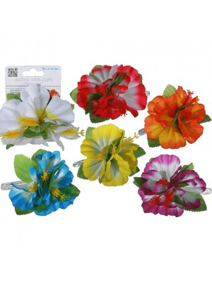 Hawaiian Flower Clips - Assorted Colours