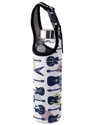 Headstock Guitar Reusable Glass Water Bottle with Protective Neoprene Sleeve with Strap