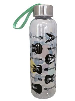 Headstock Guitar Reusable Plastic Water Bottle With Metallic Lid - 550ml