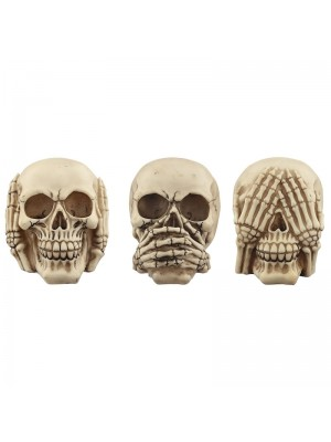 Hear No Evil, Speak No Evil, See No Evil Skull Figurine Set