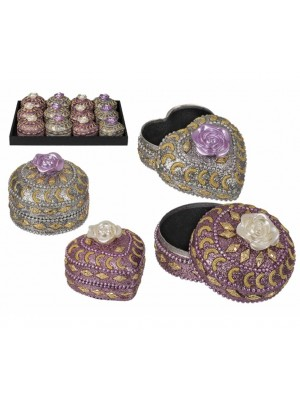 Wholesale Heart & Round Shape Jewellery Box With White Roses-Assorted