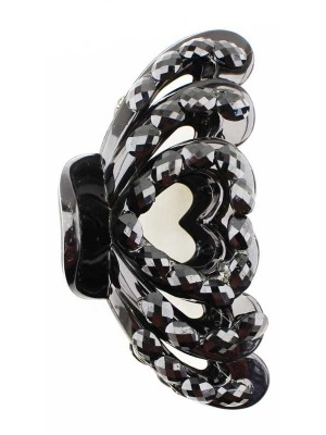Wholesale Ladies Basic Heart Design Clamps - Black (8.5cm)