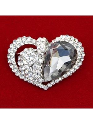 Wholesale Silver Diamante With Black Crystal Heart Design Brooch
