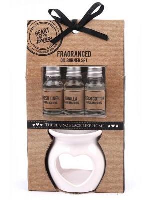 Wholesale Heart Oil Burner Gift Set With 3 Fragranced Oils