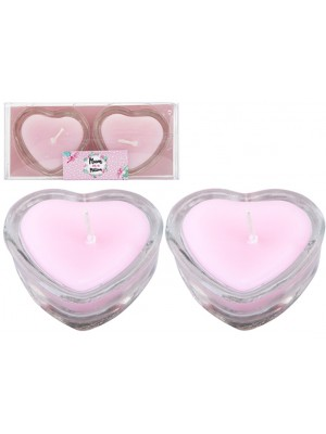 Heart Shaped Candles In Glass Holder