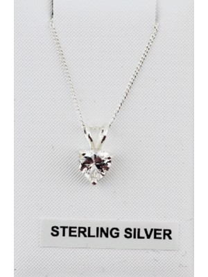 Wholesale Sterling Silver Heart Shaped Pendant Clear Crystal