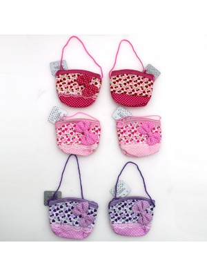 Hearts print and Spotty Bow Purse- Assorted Colours