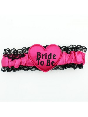 Hen Party Garter Bride To Be - Black & Dark Pink