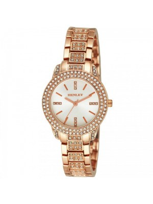 Wholesale Henley Ladies Bling Diamante Bracelet Watch - Rose Gold