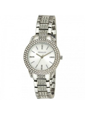 Wholesale Henley Ladies Bling Diamante Bracelet Watch - Silver