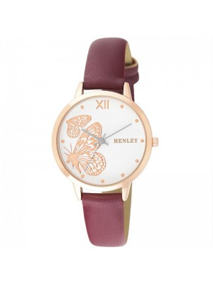 Wholesale Henley Ladies Butterfly Design Fashion Strap Watch - Wine