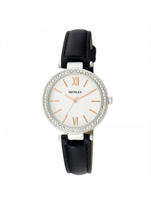 Wholesale Henley Ladies Classic Diamante Faux Strap Watch - Black