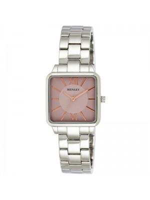 Wholesale Henley Ladies Classic Square Bracelet Watch - Silver/Pink