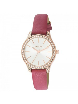 Wholesale Henley Ladies Diamante Faux Strap Watch - Mulberry Pink