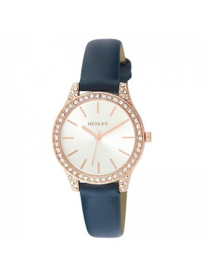 Wholesale Henley Ladies Diamante Faux Strap Watch - Ocean Blue