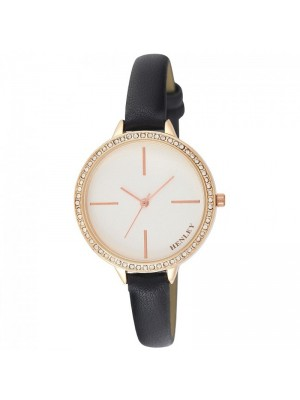 Wholesale Henley Ladies Diamante Feature Logo Faux Strap Watch - Black