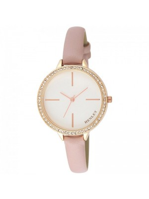 Wholesale Henley Ladies Diamante Feature Logo Faux Strap Watch - Pink