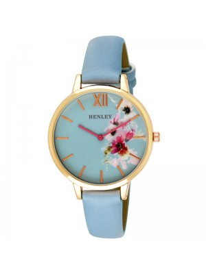 Wholesale Henley Ladies Floral Print Leather Strap Watch - Blue