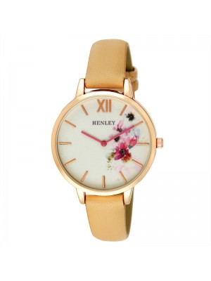 Wholesale Henley Ladies Floral Print Leather Strap Watch - Honey