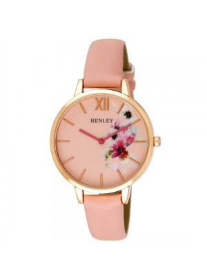 Wholesale Henley Ladies Floral Print Leather Strap Watch - Pink
