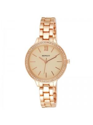 Wholesale Henley Ladies Minimal Diamante Watch - Rose Gold