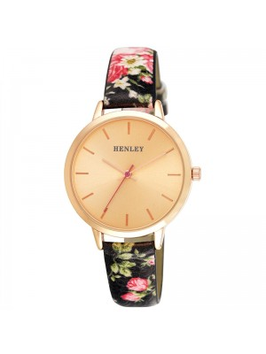 Wholesale Henley Ladies Spring Floral Print Leather Strap Watch - Black