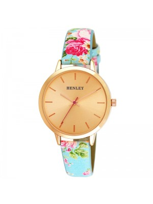 Wholesale Henley Ladies Spring Floral Print Leather Strap Watch - Blue