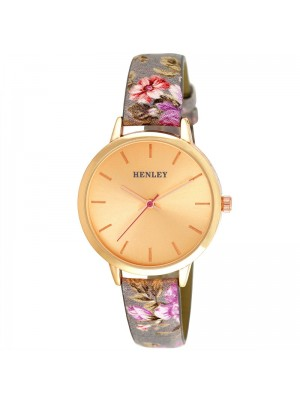 Wholesale Henley Ladies Spring Floral Print Leather Strap Watch - Grey