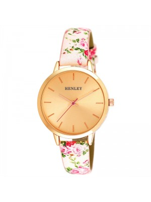 Wholesale Henley Ladies Spring Floral Print Leather Strap Watch - Pink