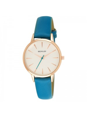 Wholesale Henley Ladies Tapered Index Leather Strap Watch - Jade Green